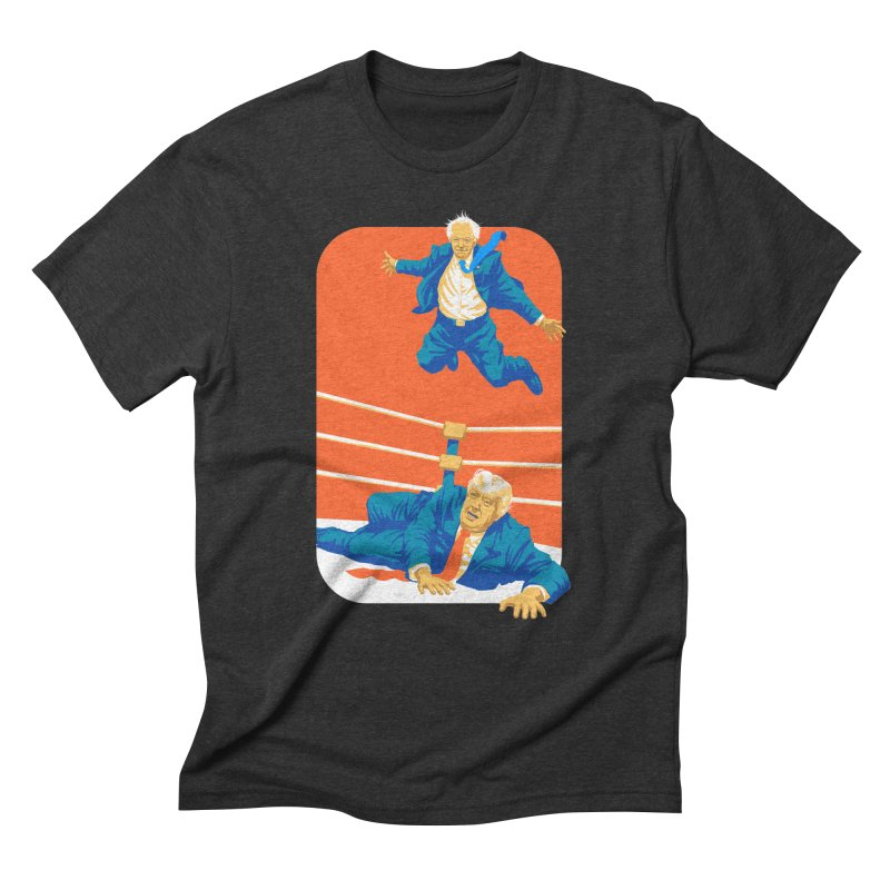 Bernie Off The Top Rope in Men's Triblend T-Shirt Heather Onyx by Bernie Threads