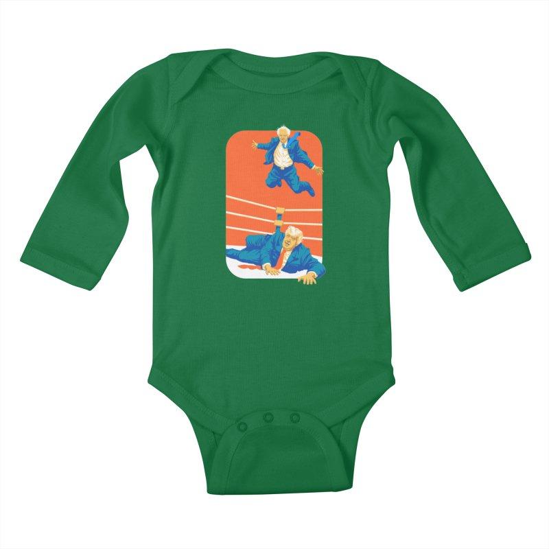 Bernie Off The Top Rope Kids Baby Longsleeve Bodysuit by Bernie Threads