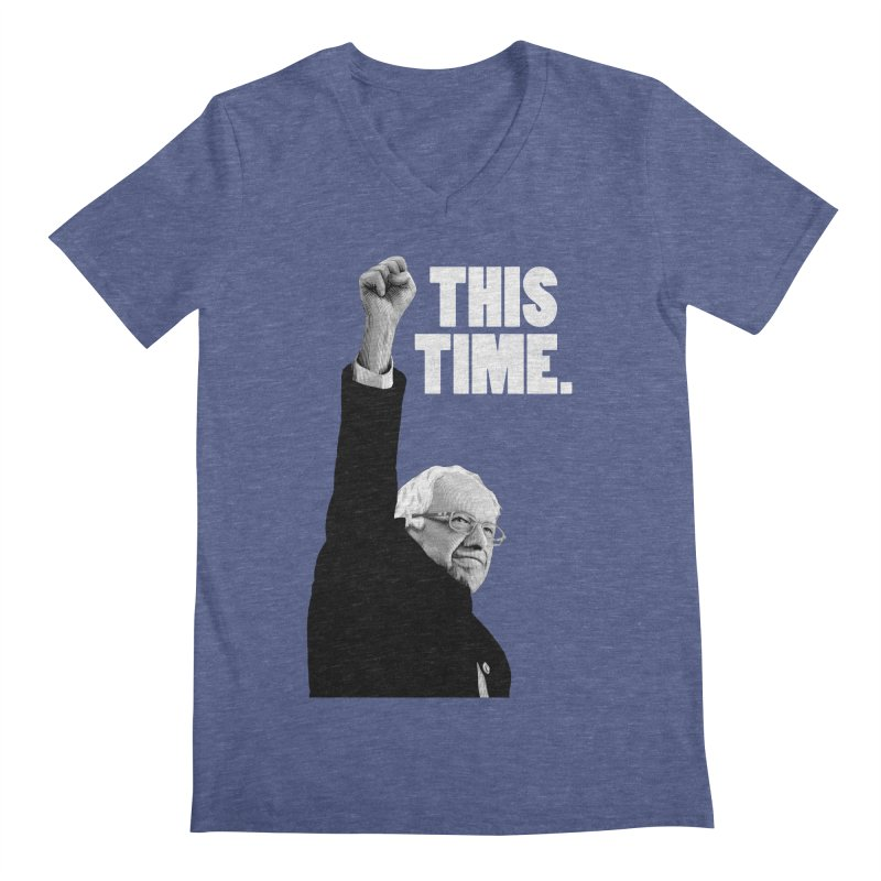 This Time. (White Text) Men's V-Neck by Bernie Threads