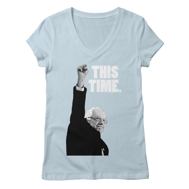 This Time. (White Text) Women's Regular V-Neck by Bernie Threads