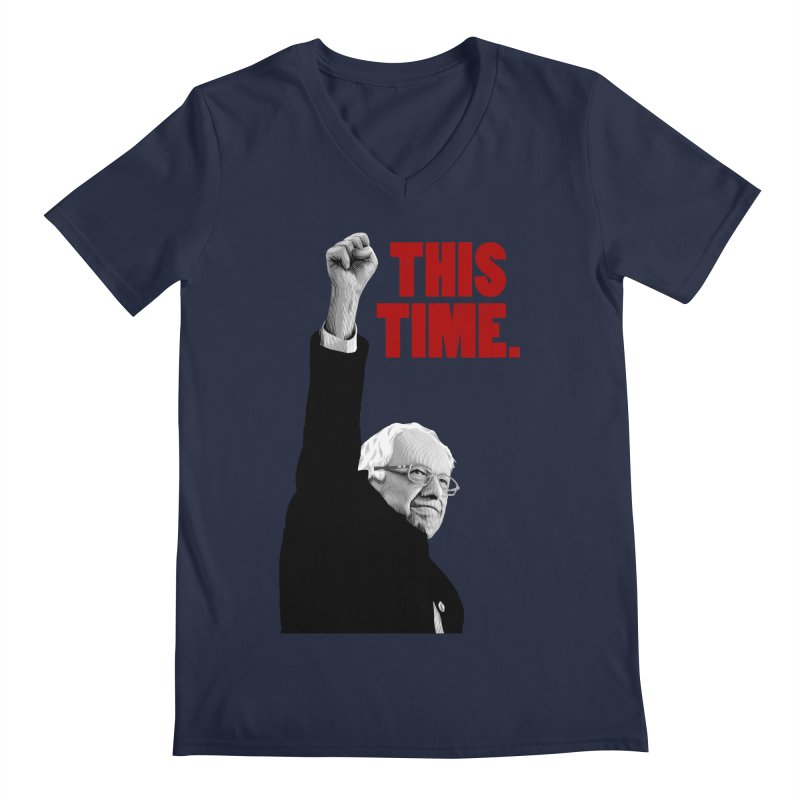 This Time. (Red Text) Men's Regular V-Neck by Bernie Threads