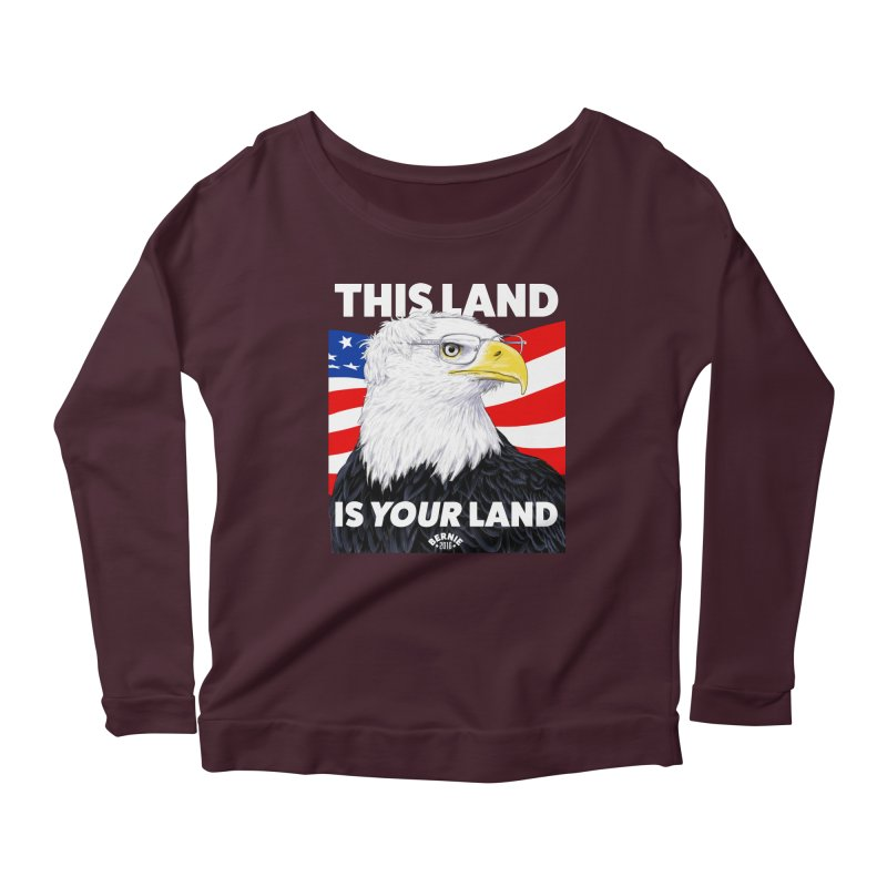This Land Is Your Land (Dark Version) Women's Longsleeve Scoopneck  by Bernie Threads