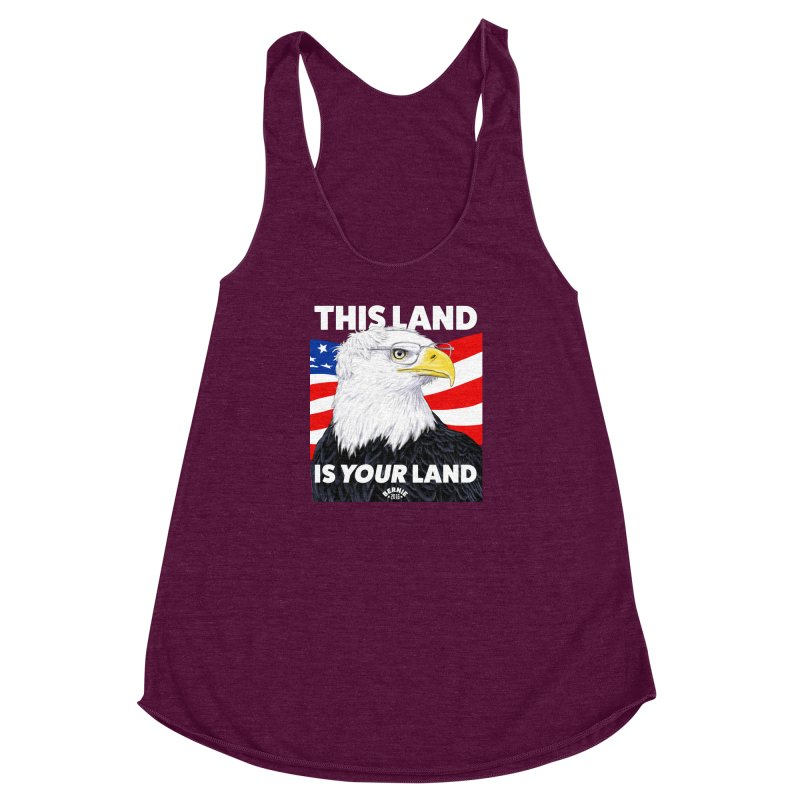 This Land Is Your Land (Dark Version) Women's Racerback Triblend Tank by Bernie Threads