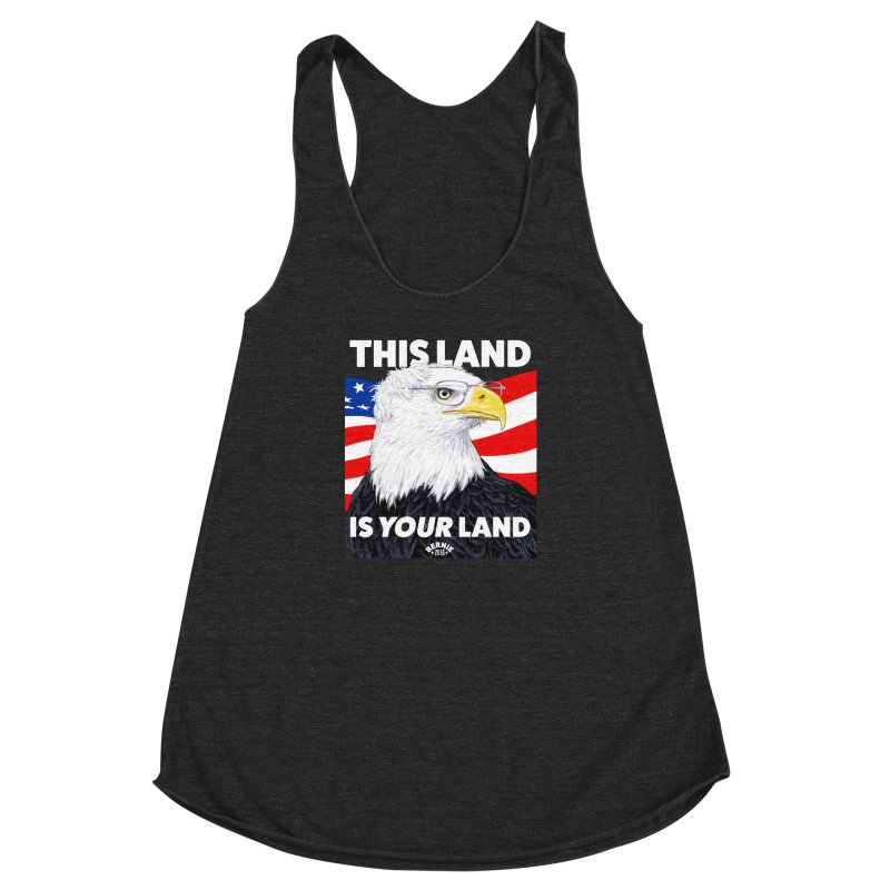 This Land Is Your Land (Dark Version) Women's Racerback Triblend Tank by Bernie Threads