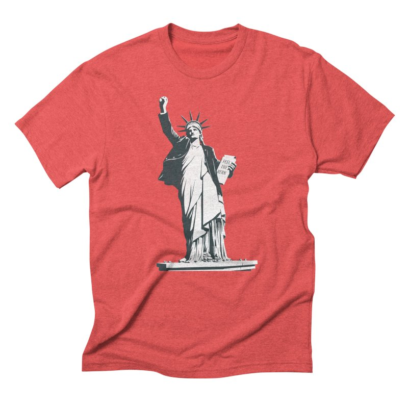 Statue of Libernie in Men's Triblend T-Shirt Chili Red by Bernie Threads