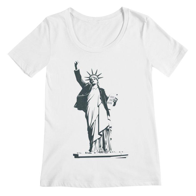 Statue of Libernie Women's Regular Scoop Neck by Bernie Threads