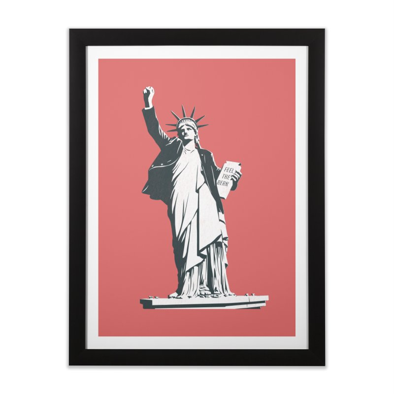 Statue of Libernie Home Framed Fine Art Print by Bernie Threads