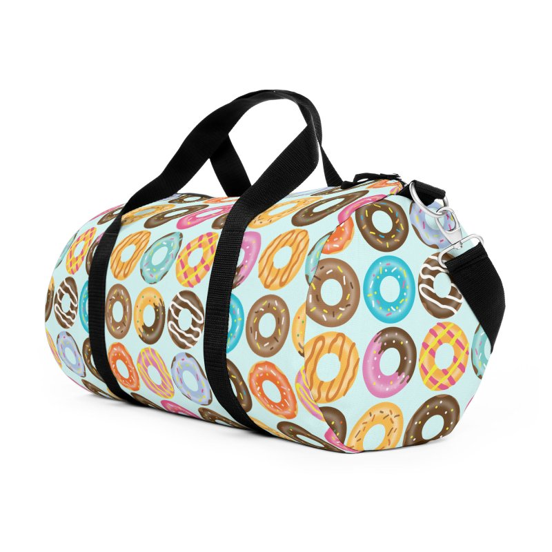 Yummy Donut Accessories Duffel Bag Bag by Beryl Design Shop