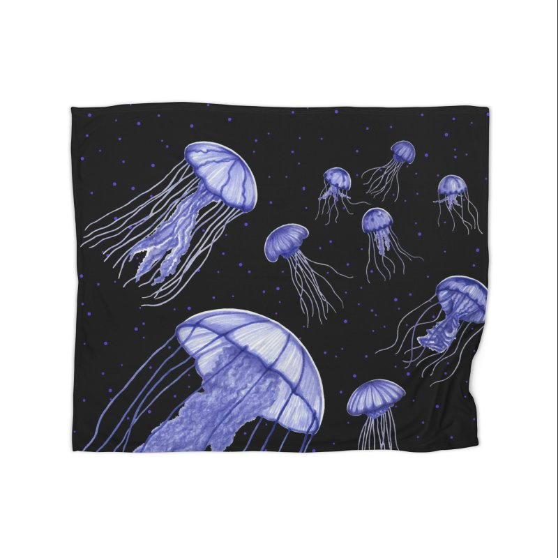 Jellyfish Home Fleece Blanket Blanket by Beryl Design Shop
