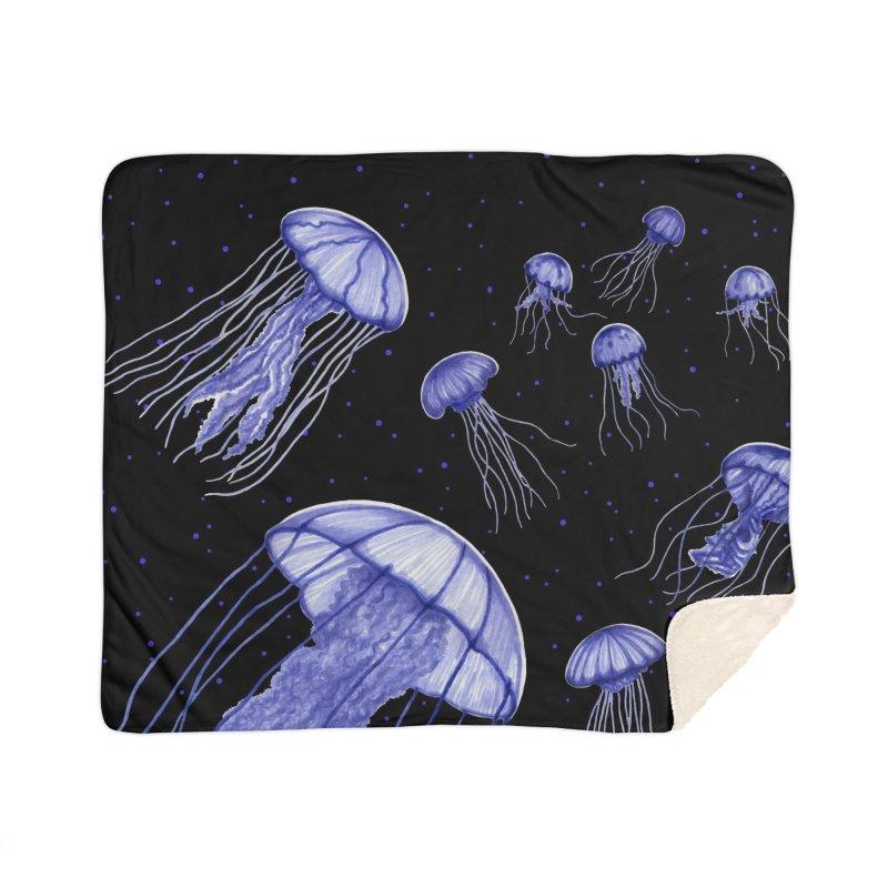 Jellyfish Home Sherpa Blanket Blanket by Beryl Design Shop