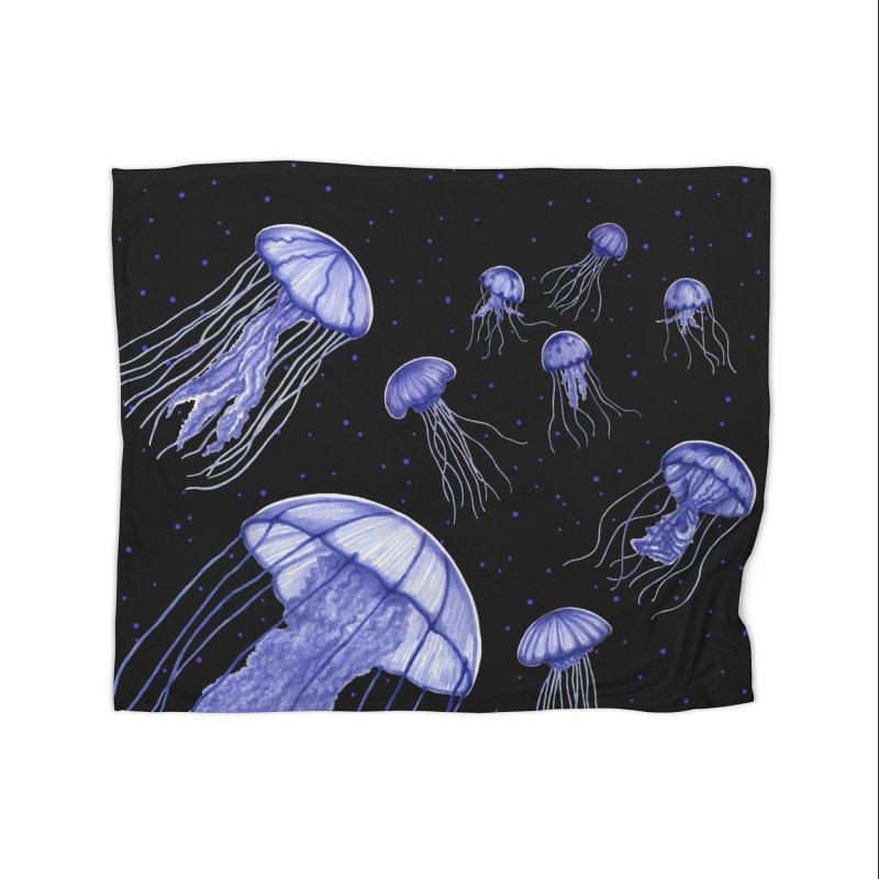 Jellyfish Home Fleece Blanket Blanket by Beryl Design Shop