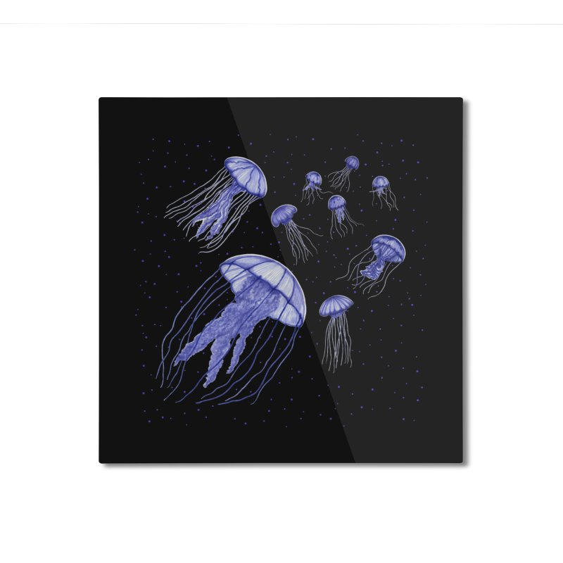 Jellyfish Home Mounted Aluminum Print by Beryl Design Shop