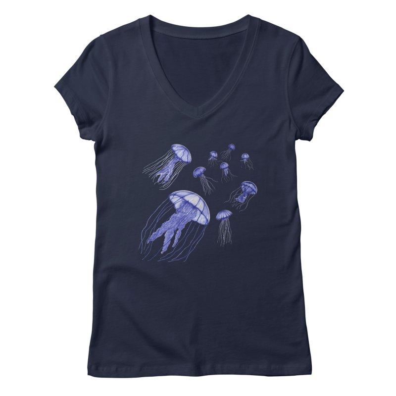 Jellyfish Women's Regular V-Neck by Beryl Design Shop
