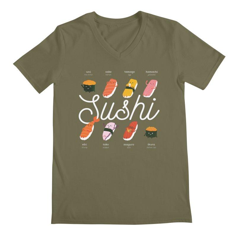 Cute Sushi Men's Regular V-Neck by Beryl Design Shop