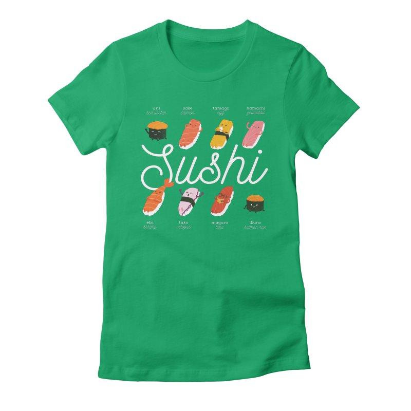 Cute Sushi Women's Fitted T-Shirt by Beryl Design Shop