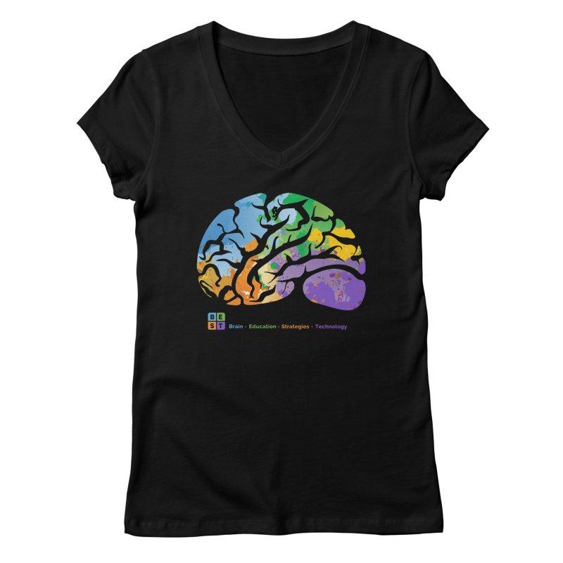 BEST BRAIN TEE Women's V-Neck by bestconnections's Artist Shop