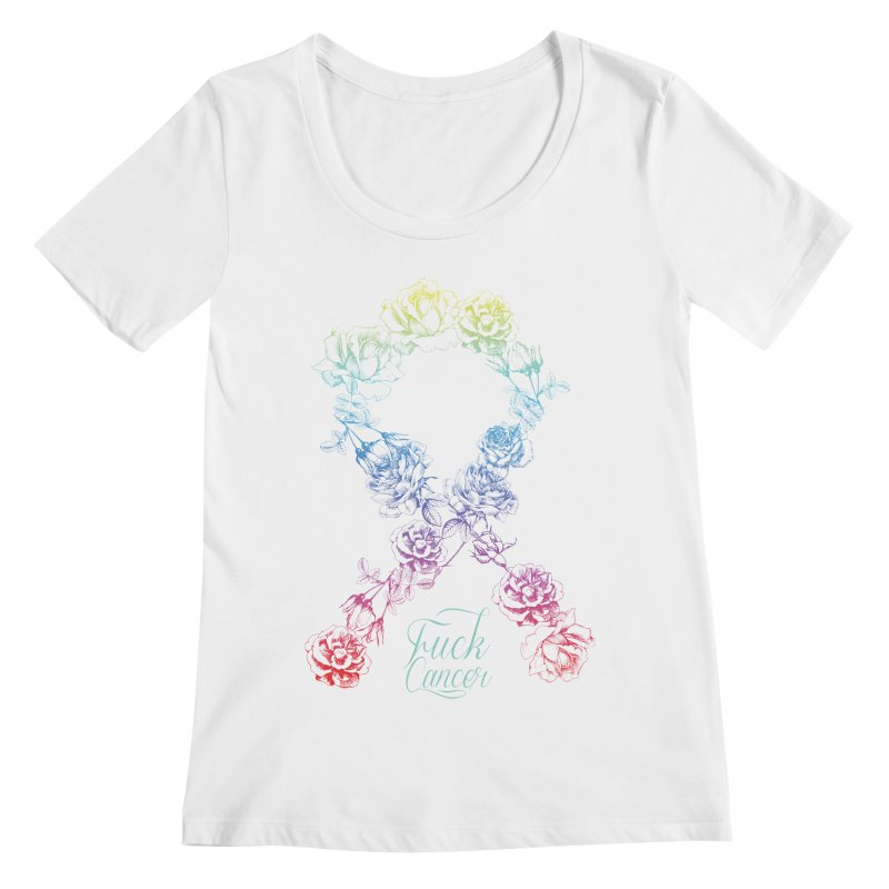 Fuck Cancer - floral Women's Regular Scoop Neck by Betches Guide to Cancer Shop