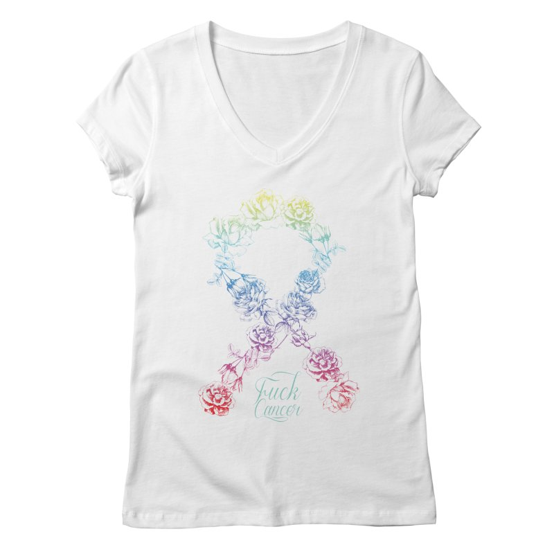Fuck Cancer - floral Women's Regular V-Neck by Betches Guide to Cancer Shop