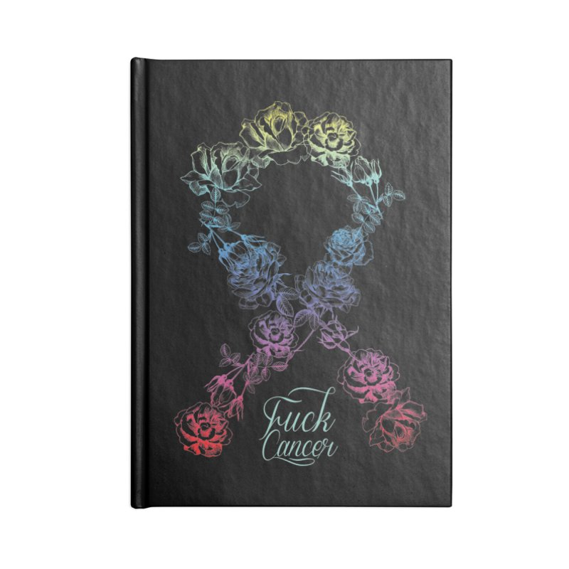 Fuck Cancer - floral Accessories Lined Journal Notebook by Betches Guide to Cancer Shop