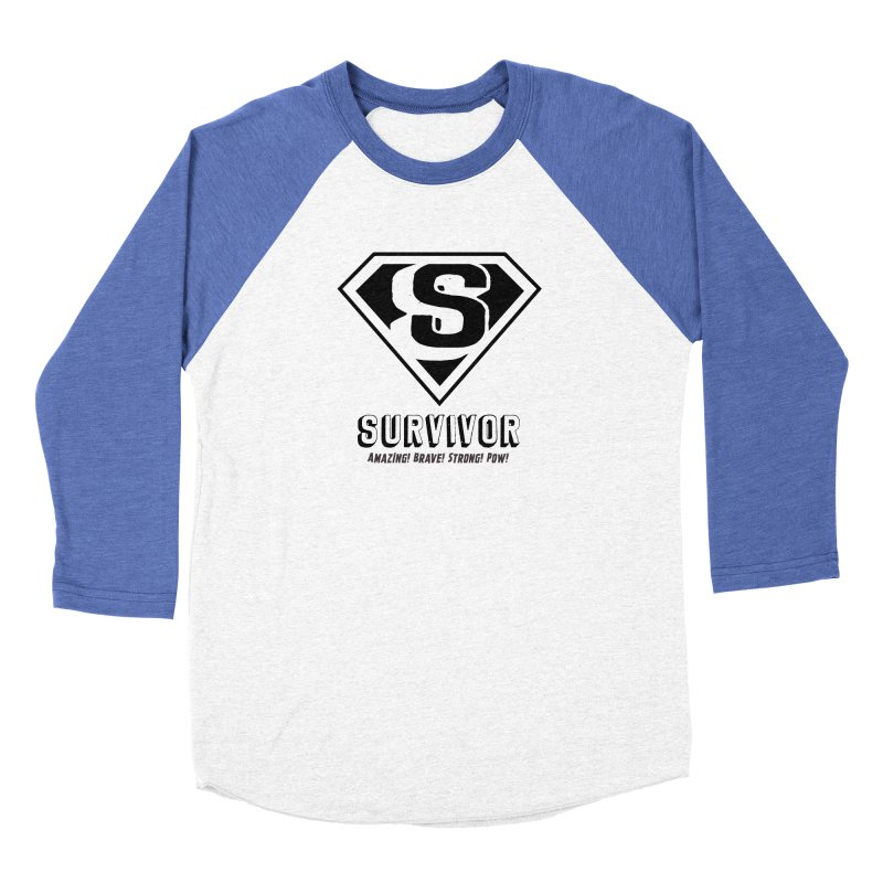 Survivor - black Women's Baseball Triblend Longsleeve T-Shirt by Betches Guide to Cancer Shop