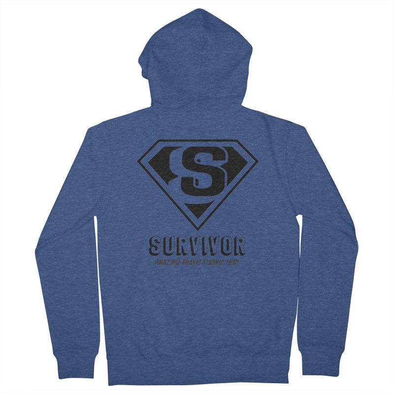 Survivor - black Women's French Terry Zip-Up Hoody by Betches Guide to Cancer Shop