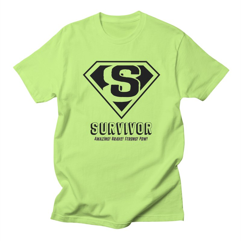 Survivor - black in Men's T-shirt Neon Green by Betches Guide to Cancer Shop
