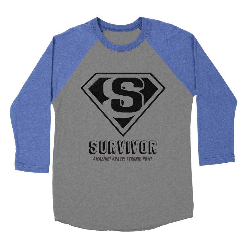 Survivor - black Men's Baseball Triblend Longsleeve T-Shirt by Betches Guide to Cancer Shop