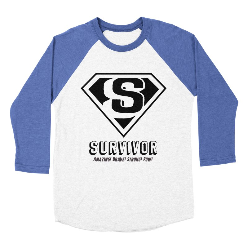 Survivor - black Men's Baseball Triblend T-Shirt by Betches Guide to Cancer Shop