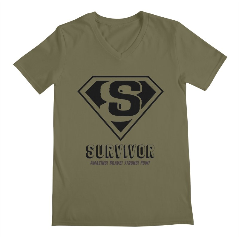 Survivor - black Men's V-Neck by Betches Guide to Cancer Shop
