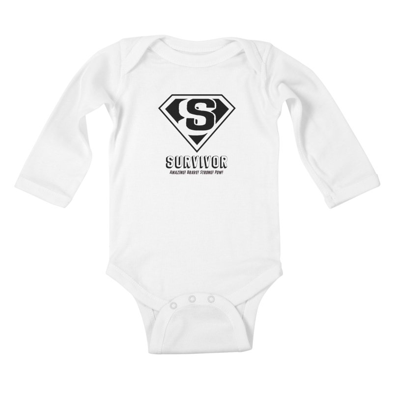 Survivor - black Kids Baby Longsleeve Bodysuit by Betches Guide to Cancer Shop