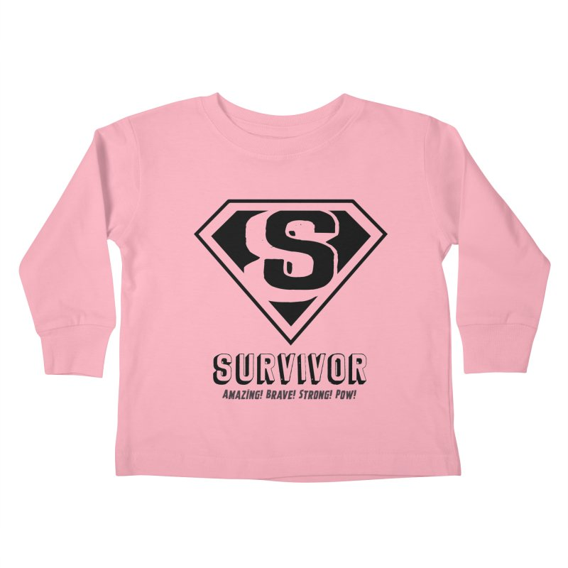 Survivor - black Kids Toddler Longsleeve T-Shirt by Betches Guide to Cancer Shop