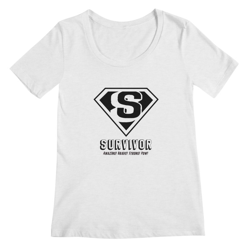 Survivor - black Women's Regular Scoop Neck by Betches Guide to Cancer Shop