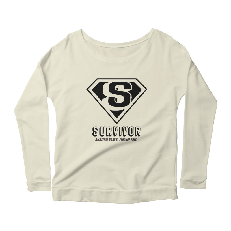 Survivor - black Women's Scoop Neck Longsleeve T-Shirt by Betches Guide to Cancer Shop