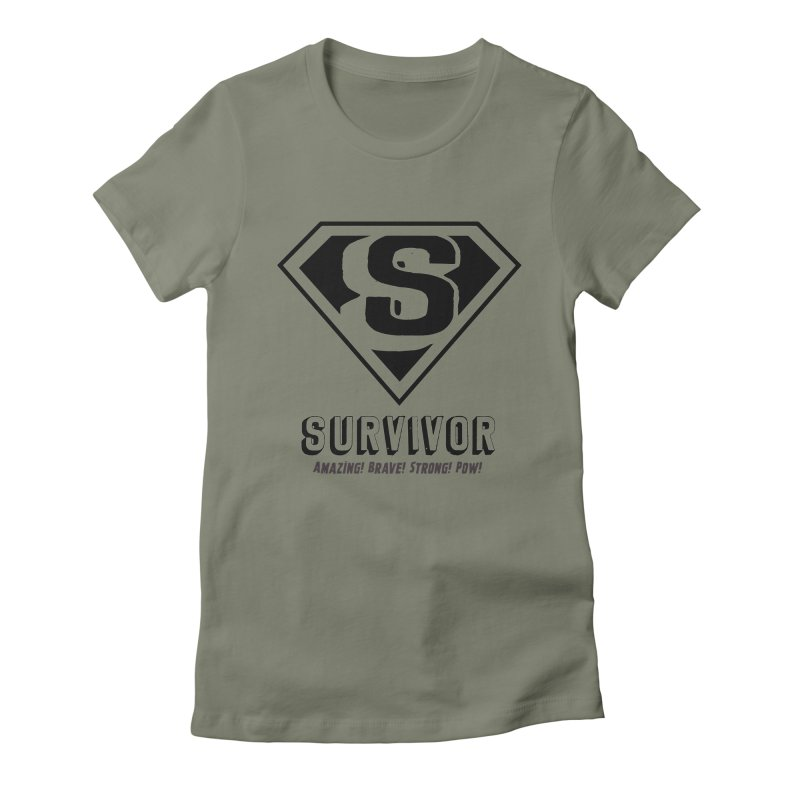 Survivor - black Women's Fitted T-Shirt by Betches Guide to Cancer Shop