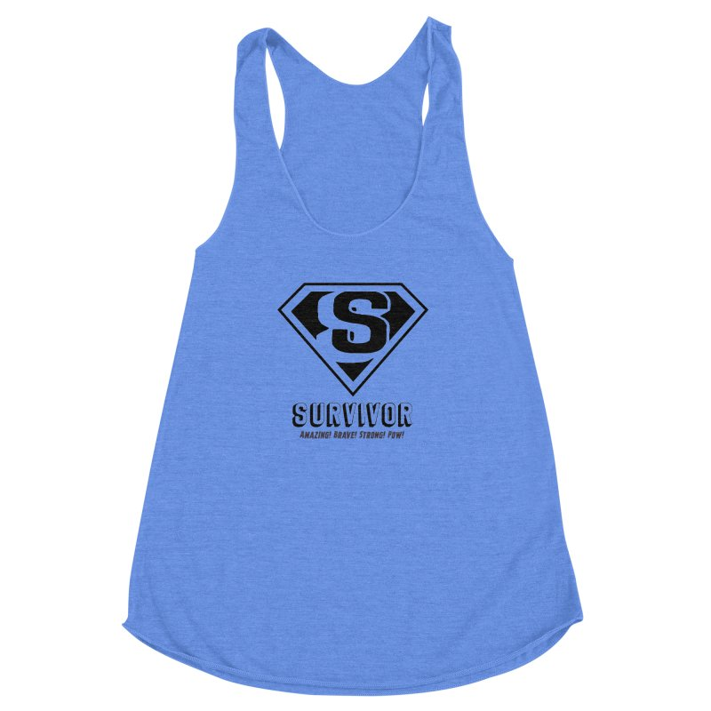 Survivor - black Women's Racerback Triblend Tank by Betches Guide to Cancer Shop