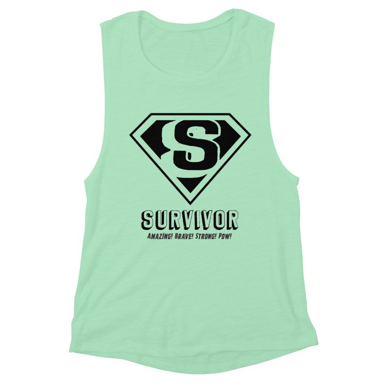 Survivor - black Women's Muscle Tank by Betches Guide to Cancer Shop