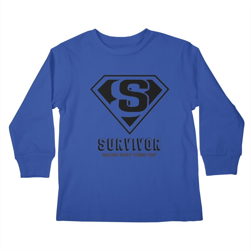 Survivor - black Kids Longsleeve T-Shirt by Betches Guide to Cancer Shop