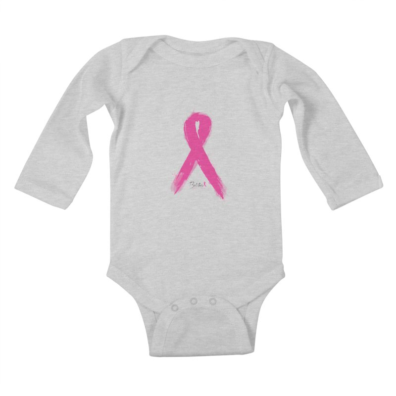 Watercolor Pink Ribbon Kids Baby Longsleeve Bodysuit by Betches Guide to Cancer Shop