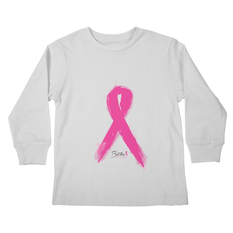 Watercolor Pink Ribbon Kids Longsleeve T-Shirt by Betches Guide to Cancer Shop