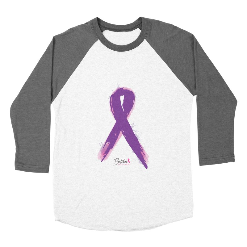Purple Watercolor Ribbon  Women's Baseball Triblend Longsleeve T-Shirt by Betches Guide to Cancer Shop