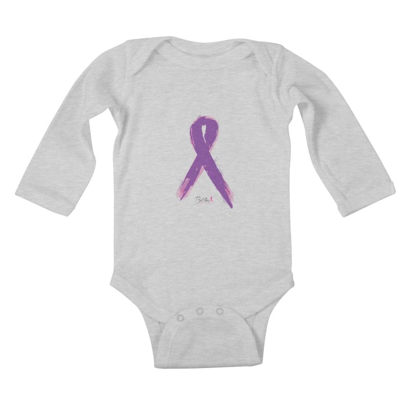 Purple Watercolor Ribbon  Kids Baby Longsleeve Bodysuit by Betches Guide to Cancer Shop