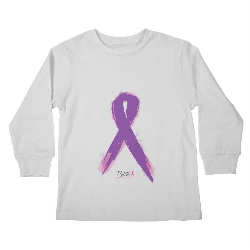 Purple Watercolor Ribbon  Kids Longsleeve T-Shirt by Betches Guide to Cancer Shop