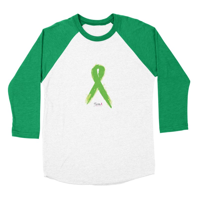 Green Watercolor Ribbon Men's Baseball Triblend Longsleeve T-Shirt by Betches Guide to Cancer Shop