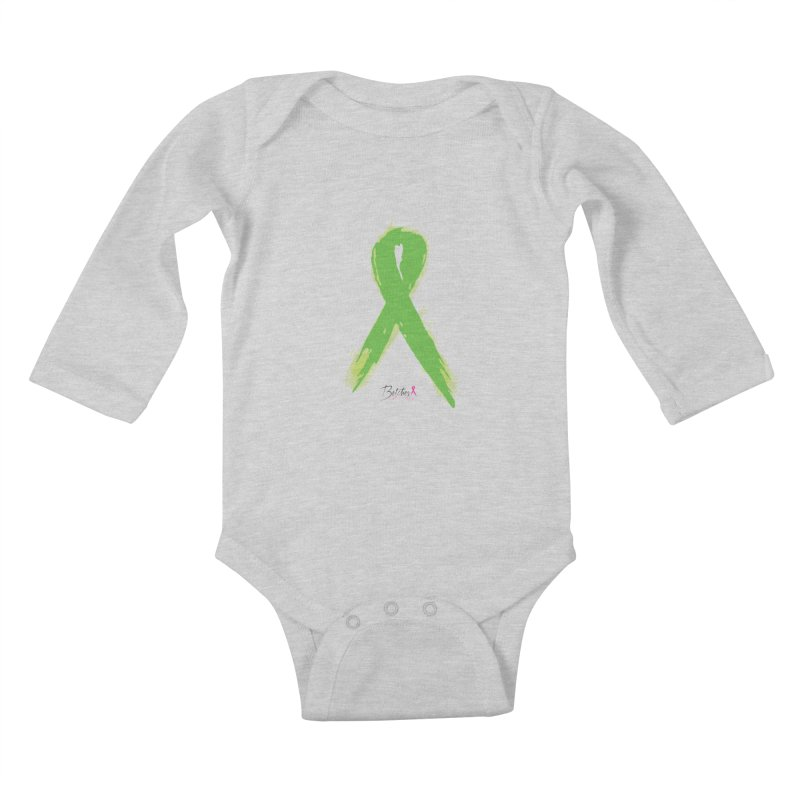 Green Watercolor Ribbon Kids Baby Longsleeve Bodysuit by Betches Guide to Cancer Shop