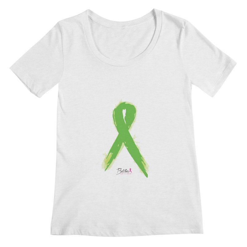 Green Watercolor Ribbon Women's Regular Scoop Neck by Betches Guide to Cancer Shop