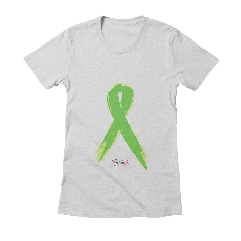 Green Watercolor Ribbon Women's Fitted T-Shirt by Betches Guide to Cancer Shop