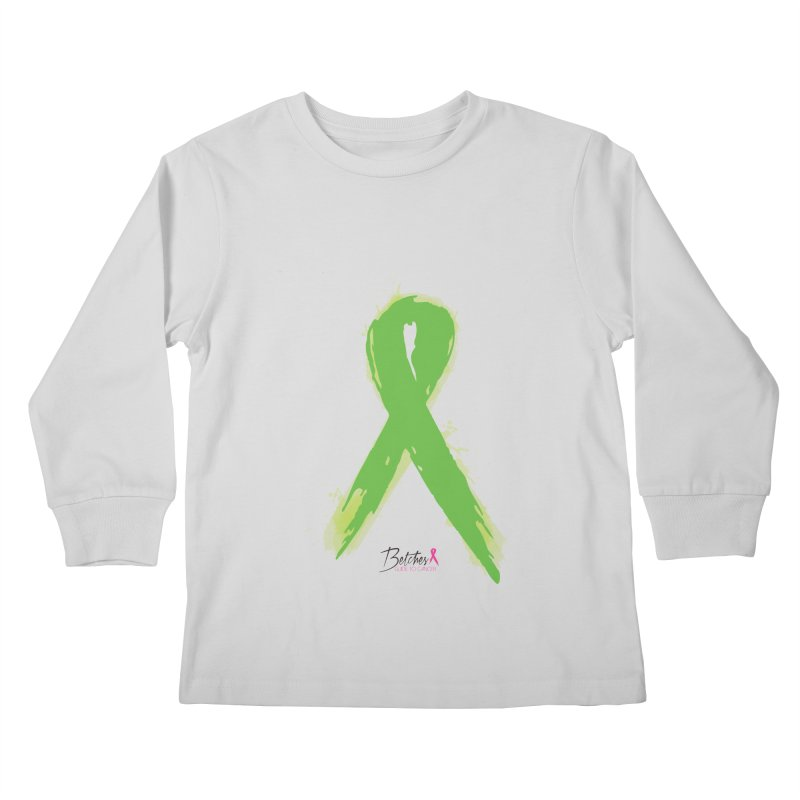 Green Watercolor Ribbon Kids Longsleeve T-Shirt by Betches Guide to Cancer Shop