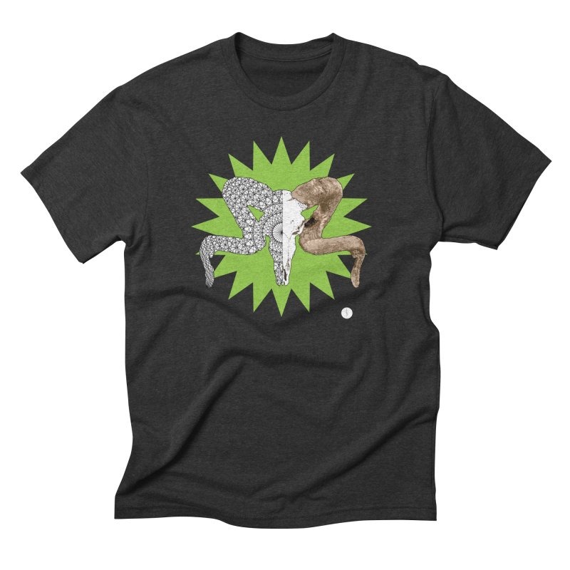 Corsican Ram in Men's Triblend T-shirt Heather Onyx by Geometric Evolution
