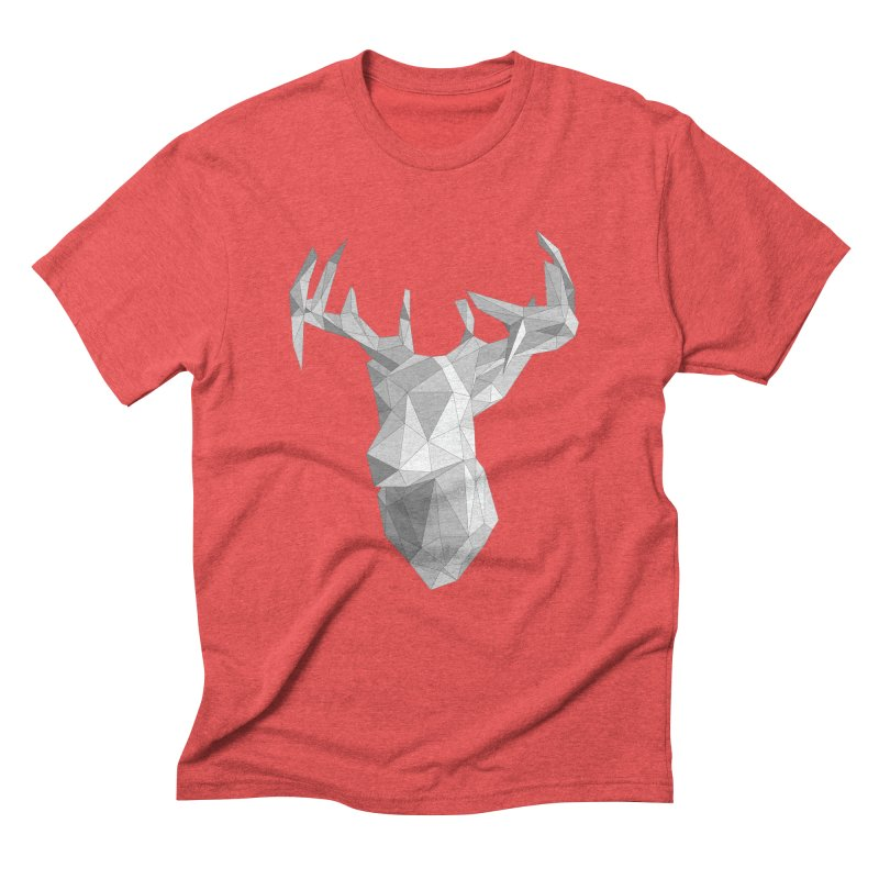 Polyhedral Deer II in Men's Triblend T-Shirt Chili Red by Geometric Evolution