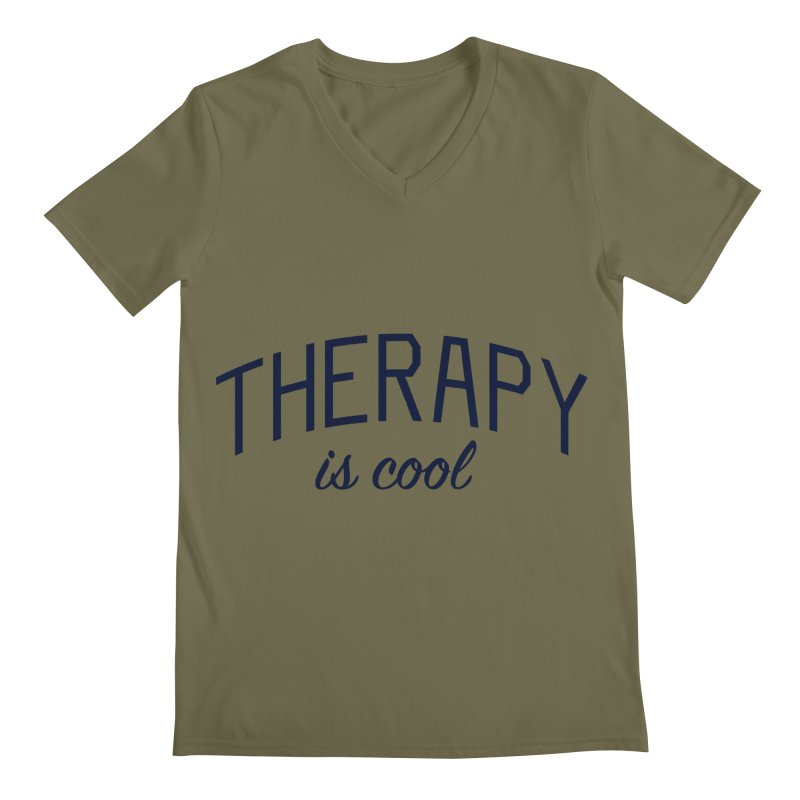 Therapy is Cool - Message for Therapists, Counselors, and Clients Men's Regular V-Neck by Bicks' Artist Shop